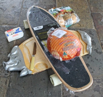 Skateboard and Ham Sandwich